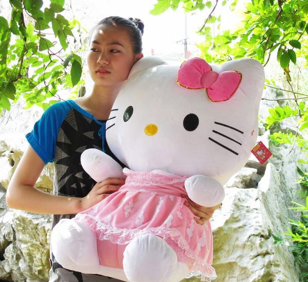 wholesale price doll hello kitty toy Plush Soft Stuffed Animal about 75cm size doll Gift toy best price toy 1pc(China (Mainland))
