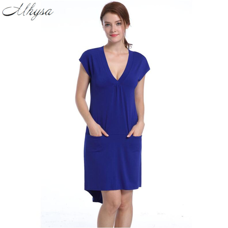 Mhysa 2017 New Fashion Sexy Dress Short Sleeve V-Neck Lady Dress Asymmetric Pocket-Fitted Knee Length Dress H62
