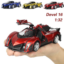 New arrival 1:32 kids toys Devel 16 Cool metal toy cars model for children music pull back car miniatures gifts for boys