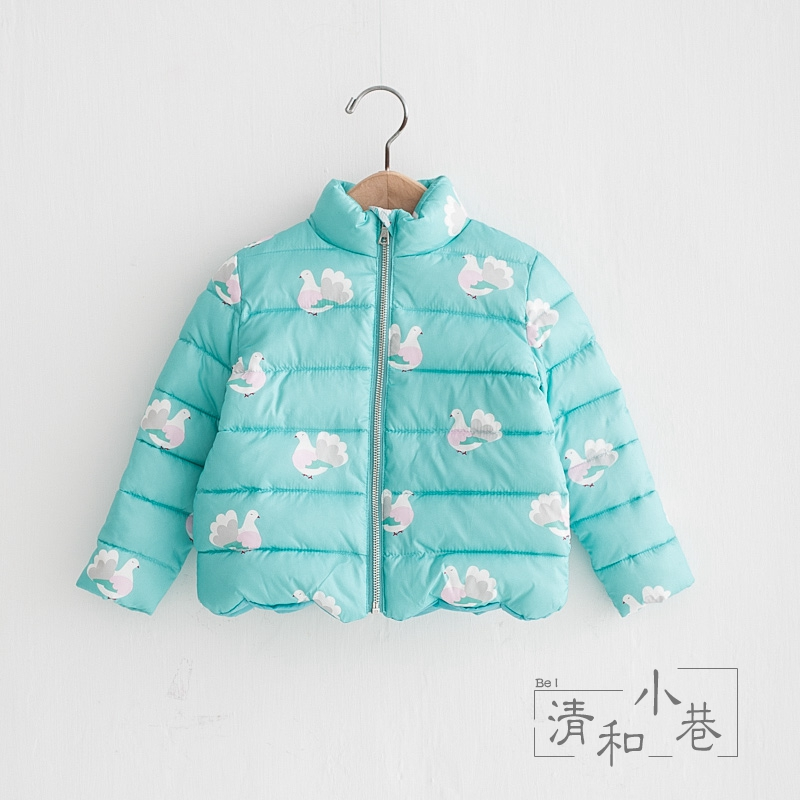 Flower Birds | Girls Cotton New Winter Clothes Children's Printed Fresh Cotton Clothes European and American Style A