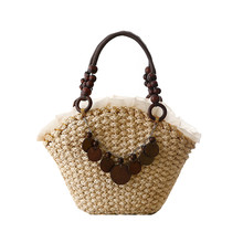 New 2017 Cornmeal lady bag large straw tote bags wood handle bao bao causal shopper bag beach holiday weave bag