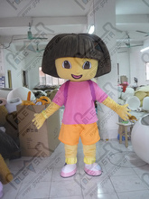 export high quality Customizable purple DORA mascot cartoon clothing/new hot purple backpack brown hair DORA costume mascot cost