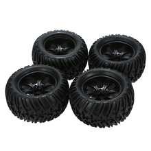 4Pcs High Quality Black Shock-proof and High Crush-resistant Wheel Rim and Tire for 1/10 Tamiya Kyosho Off-road RC Car