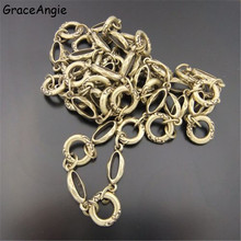 100cm Alloy Long Circle Chain charms jewelry making findings Bracelet Necklace earrings dangle Cable chain Brass Chain 13MM04073(China)