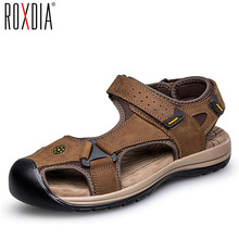 ROXDIA genuine leather men sandals summer cow leather new for beach male shoes mens gladiator sandal 39-46 RXM048(China)