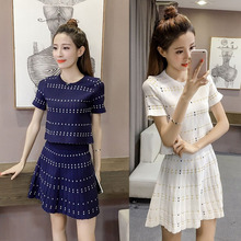 Two-piece Dress suit Korean Fashion Women Lady Dress sets Summer Knitting O-Neck Short Sleeve T-shirt+High-waisted A-line Skirts(China)