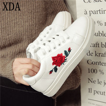 XDA 2017 Fashion New Designer White Shoes Woman Platform Loafers Embroider Creepers Spring Lace-Up Flats Casual Flowers X785