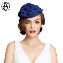 FS Winter Fashion Lady 100% Australian Wool Pillbox Hat Royal Blue Influx Elegant Flower Banquet Hats Wedding Dress Fedora(China)