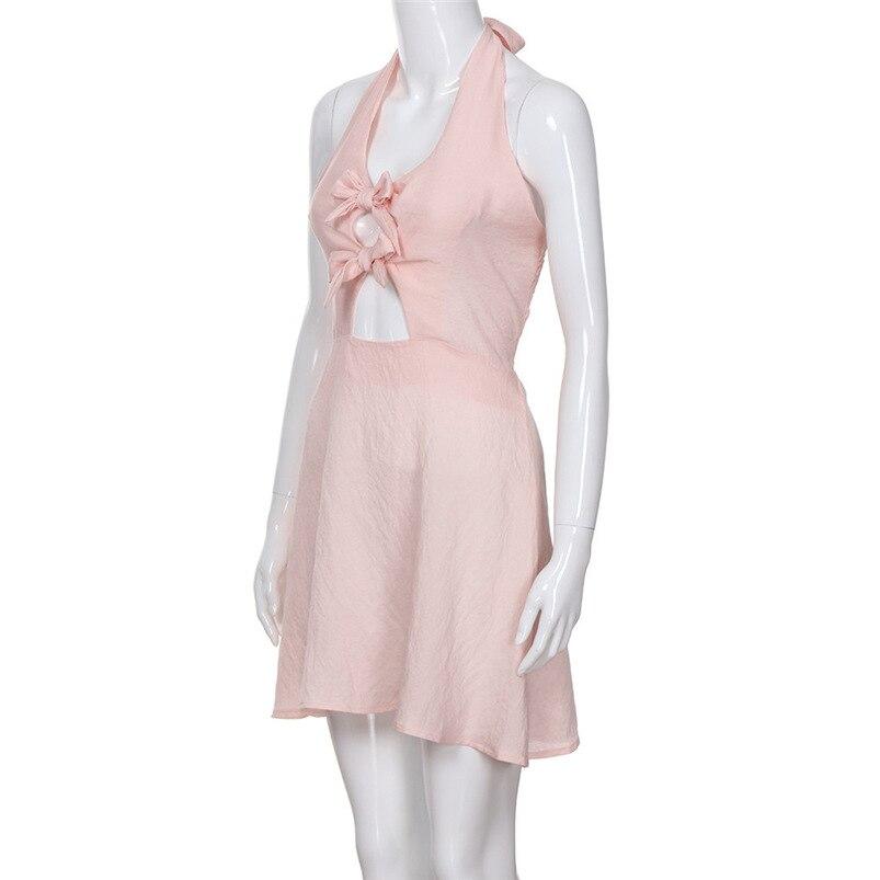 2018 Summer Dress Women Sexy Sweet Beach Bandage Bow Dress Bodycon Backless Party Dress Sleeveless Vestidos Wholesale #FY04 (11)