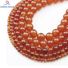 Natural Stone Carnelian Round Beads Red Agat 4 6 8 10 12MM Charm Bracelet Necklace Handicraft Diy for Jewelry making #MN08