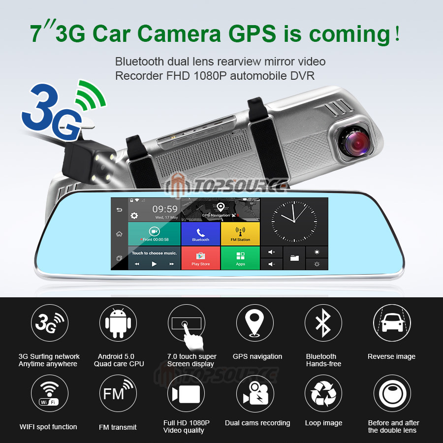 TOPSOURCE 7 inch 3G Car DVR Mirror Gps Dual Camera LENS GPS CAR CAMER Android Quad-core Full HD 1080P GPS Navigation 16GB/1GB 4