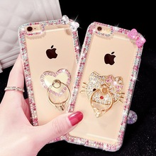 New Luxury Crystal Rhinestone Diamond Kitty Heart Ring Clear TPU Phone case for iPhone 7 7plus 6 6s plus 5 5s SE 4 4s case Cover(China)