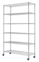 "Chrome Metal Wardrobe 6 Layers Rolling Wheels Storage Rack 48x18x72"" HOT SALE(China)"