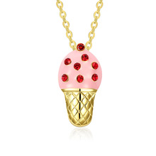 Creative Ice Cream Shape Pendant Inlay Rhinestone Adjustable Gold Chain Necklaces Fashion Jewelry Gift For Lady Girl M8694