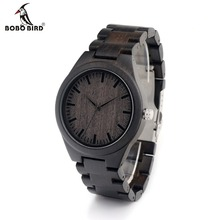 BOBO BIRD H05 Brand Design Classic Ebony Wooden Mens Watch Full Wood Strap Quartz Watches as Gift for Men in Carton Box