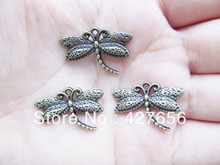30pcs Antique Silver tone/Antique Bronze Smooth Filigree Cabinet Dragonfly Pendant Charm/Finding,DIY Jewellery Accessory