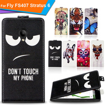 Newest  For Fly FS407 Stratus 6 Factory Price Luxury Cool Printed Cartoon 100% Special PU Leather Flip case cover,Gift