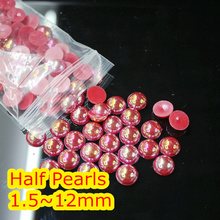 Jelly Siam AB Color 1.5mm~12mm All Size Choice Flat back ABS round Half Pearl beads, imitation plastic half pearl beads