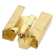 Metal Earth  DV TIE FIGHTER Golden Star Wars Chinese Metal Model 3D Etching Puzzle 6 Inch 2 Sheets Creative Gift Brass