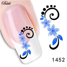 Bittb DIY Nail Decals 5-Petal Blue Flower Fingernail Beauty Custom Nail Art Foils Manicure Makeup Tool Adhesive Nail Sticker
