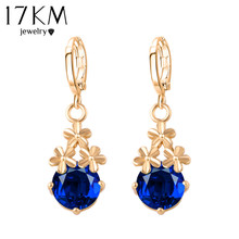 17KM 8 Colors Fashion New Crystal Flower Drop Earrings Gold Color Pendant Water Drop Earring Brincos Earrings For Women(China)