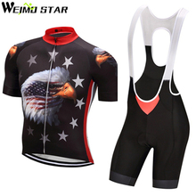 WEIMOSTAR Mens Cycling Jersey Set 2017 Star Eagle Short Sleeve Polyester Bike Cycling Clothing Bib Shorts Ropa Ciclismo