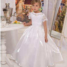 Vestido de Daminha Holy White Taffeta Short Sleeve Lace First Communion Dresses for Girls Ball Gown Flower Girl Dresses(China)