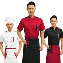 High Quality Summer Short-sleeved Chef Service Hotel Working Wear Restaurant Work Clothes Uniform Cook Tops Wholesale(China)