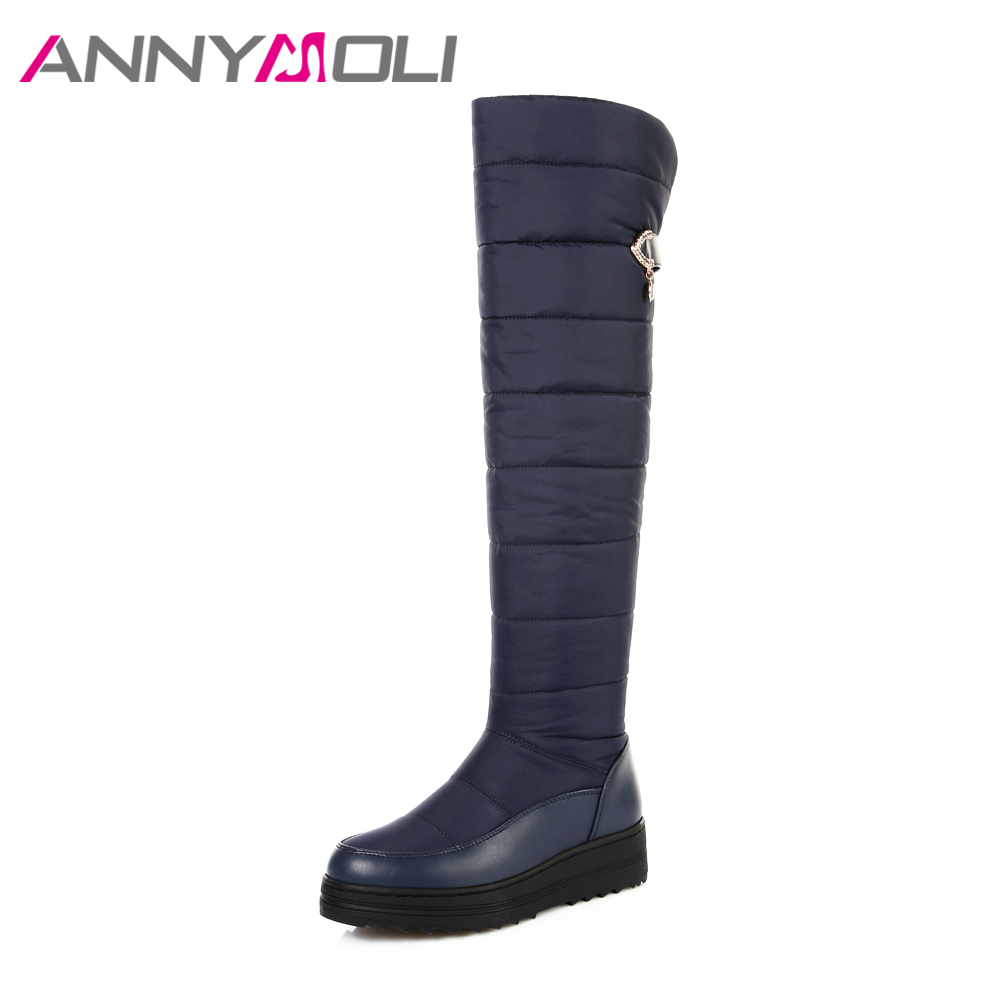ANNYMOLI Winter Snow Boots Down Fur Women Over The Knee Boots Platform Wedge Heels Boots Zip Plus Size 44  Warm Shoes Black Blue<br>