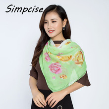 [Simpcise] 2017 Spring Brand Design Women's Garden Party Flower Silk Square Scarf P9A99037(China)