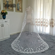 Real Photos 3M Off White Long Wedding Veil With Comb Flowers Bridal Veil Wedding Accessories veu de noiva longo(China)