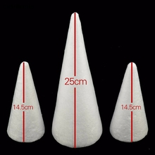 10PCS Modeling Polystyrene Foam Polystyrene Foam White Cones Christmas Tree Model Children's Toys DIY Crafts Mold Clay(China)