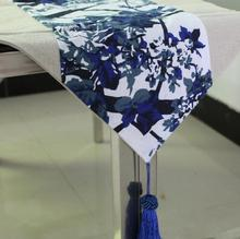 Blue And White Table Runner Chinese Table Runners Fashion Linen Cover Towel Restaurant Home Table Decoration Chemin De Table