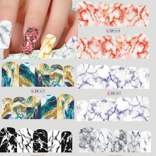 1 Sheets Marble Image Water Transfer Sticker Nail Art Full Cover Decals Fashion DIY Nail Tips Decoration 12 Designs TRBN613-624(China)