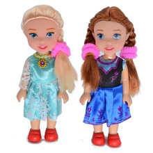 BOHS 2pcs Snow Queen Young Toddler Elsa and Anna Sisters Princess In Childhood Dolls Figure Toys Bonecas Figure Toy, 16cm(China)