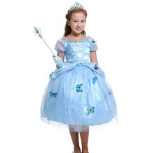 2017 Girls blue princess dress Deluxe edition Children's clothes Ball Gown costumes dress butterfly