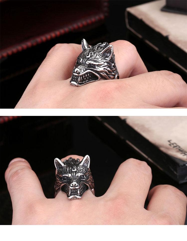 แหวนผู้ชายเท่ห์ๆ Code 043 แหวน หมาป่าดุ Game of thrones สแตนเลส12