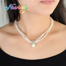 Newindy  White Pearl Jewelry Choker Necklace Three Layers Beads Chain  Maxi Simulated Pearl Necklaces Pendants Elegant Women