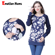 Emotion Moms Long Sleeve winter Maternity Clothes Cotton Nursing Top Breastfeeding tops for Pregnant Women maternity T-shirt New(Hong Kong)