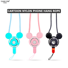 Mobile phone rope neck lanyard strap Detachable key phone case breast plate rope buckle ring rotary rope for iphone huawei