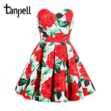 Tanpell pleated vintage cocktail dress red rose print a line knee length dress cheap 2017 ladies party new short cocktail dress(China)