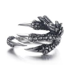 2017 New Personalized Punk Rock rings Stainless Steel Mens Biker Rings Vintage Gothic Jewelry Dragon Claw Ring for Men giftRD187