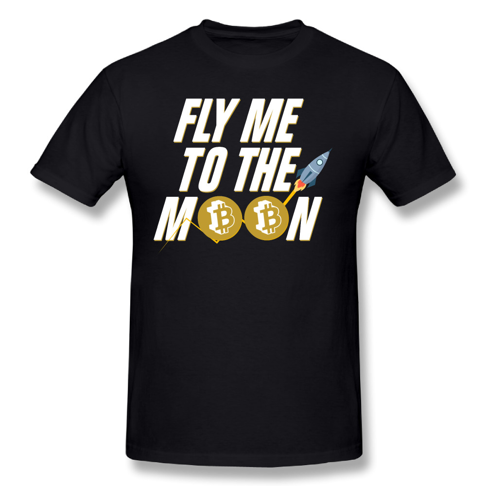 Pure Cotton Short Sleeve O Neck Male T Shirt Normal Large Size T-Shirt T Shirts Bitcoin Fly Moon Bitcoin Funny Tee
