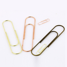 TUTU Effective Office Supplies Large rose gold Color Clip Bookmark Metal Office Accessories paper Clips Patchwork Clip W0006(China)