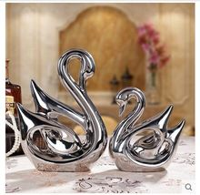 plated silver one pair loves swans ceramic model,Figurines Home accessories decoration creative wedding gift birthday gift a1800
