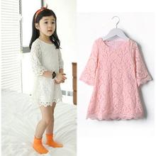2 3 4 5 6 Years Girls Dress Summer Style Childrens Princess Dresses Lace Flower Kids Dresses for Girls Pink White