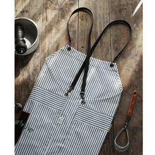 Half/Full Length Cotton White Striped Apron w/ PU Straps Barista Cafe Bartender Chef Uniforms Waitress Barber Salon Workwear K13(China)