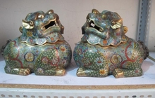 free shipping Regius Palace 100% Pure Bronze cloisonne Foo Dog Lion incense burner Censer (please buy 2 order )(China)