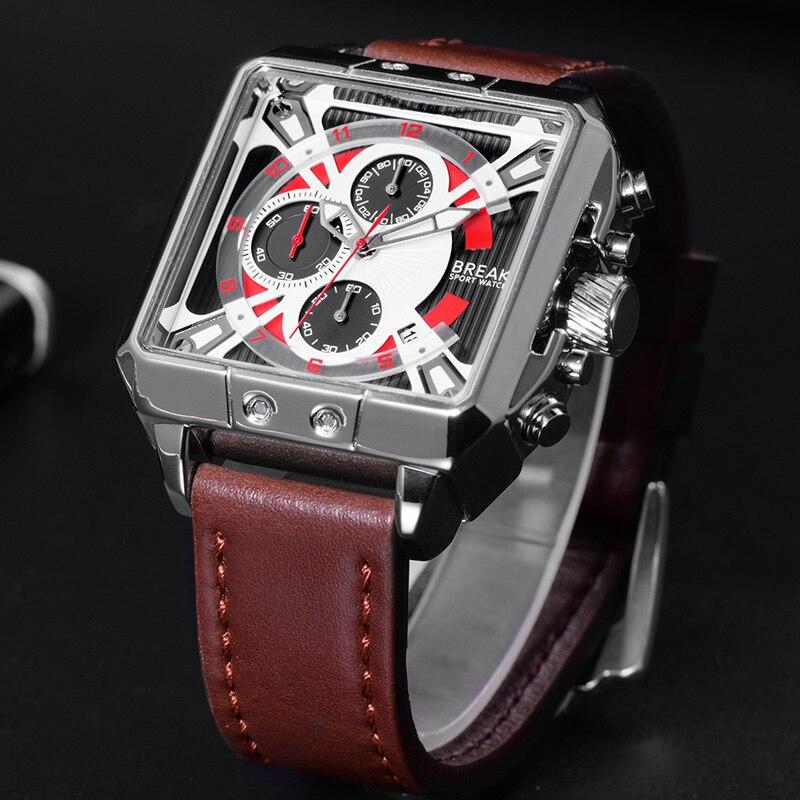BREAK Men Luxury Top Brand Quartz Sport watches Mens Genuine Leather Strap Chronograph Gift Wristwatches for Man Relogio<br>