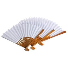 Chinese Style Bamboo Paper Pocket Fan Folding Foldable Hand Held Fans Wedding Favor Event Party Supplies W215
